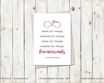 Love Never Ends - Infinity - 1 Corinthians 13 - Greeting Card, 4.5x6.25 folded card with envelope