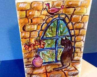 Jerusalem Art, Hand Painted Card, Jerusalem Cat, Black Cart Art, Cat Look Out Window, Jerusalem Painting, Jerusalem Stone, Cat Window Seat