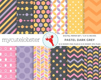 Pastel Dark Grey Digital Paper Set - polka paper, chevron paper, scrapbook, patterned - personal use, small commercial use, instant download