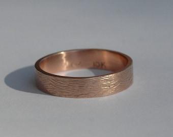 Rose Gold 5mm Wood Grain Textured Wedding Band, male wedding band, female wedding band
