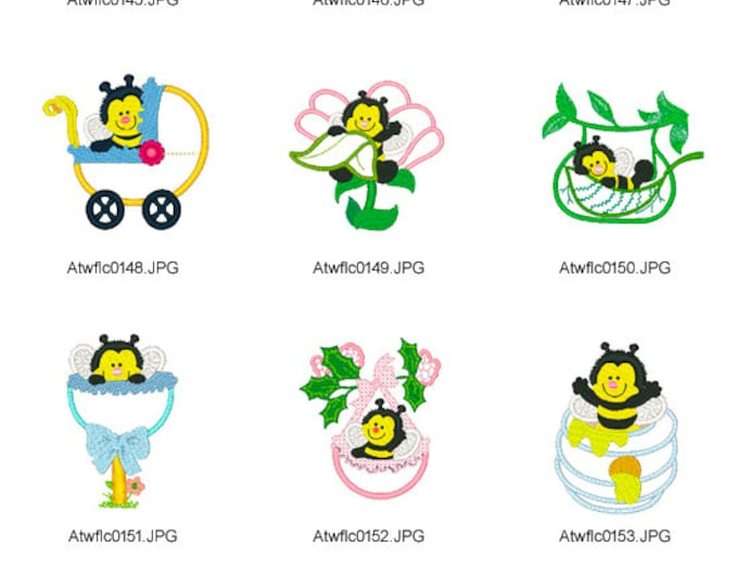 Hi-There-Sweet-Bee ( 10 Machine Embroidery Designs from ATW )