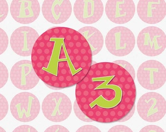 PINK POLKA DOT Alphabet - 1 Inch Circle Digital Collage Sheet for Bottle Cap Pendants, Magnets and More (Instant Download No. 59)