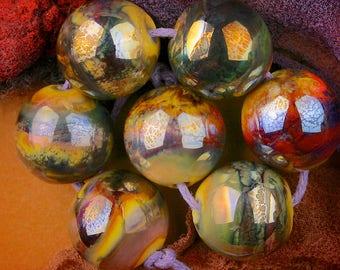 "Lampwork Set of 7 Spheres ""Silvered Honey"" Handmade Glass Bead SRA ~ Warm Neutrals"