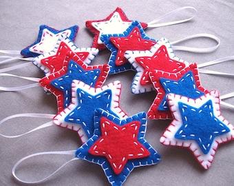 10 patriotic star ornaments, patriotic decor felt stars, holiday decor july 4th, americana, american decorations, USA independence day