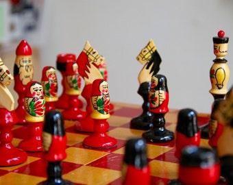 Vintage original chess set with beautiful design from Soviet Union-Krygyzstan-1970's. Schachspiel aus der UdSSR-Made in USSR-Rare!(23)