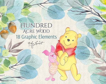 Hundred Acre Wood - Winnie the Pooh - Piglet - Watercolor Elements - PNG file
