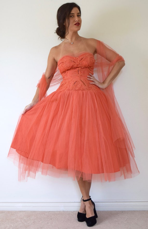 Vintage 50s Salmon Orange Mesh Tulle Strapless Sequined New Look T Length Party Dress (size xs, small)