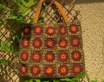 Large handbag crocheted granny-mustard-rust-khaki-plum-green light
