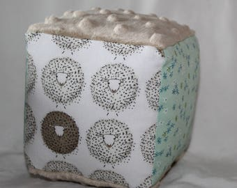 White Sheep and Flowers Fabric Block Rattle