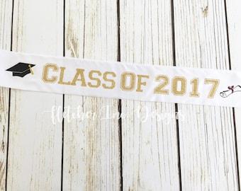 Glitter Graduation Sash Class Of 2018, College, High School.