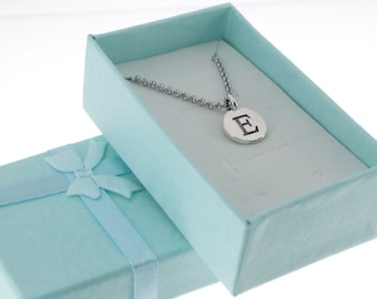 Antique Silver Pewter Initial Charm Necklace.  Initial Necklace. Initial Charm. Initial Jewelry. Letter E. necklace.