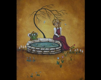Original Acrylic Canvas Art Painting - Fairytale Art - The Frog Prince - Grimm Brothers