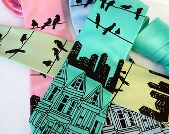 City Skyline Necktie, Mens Necktie, Mint Necktie, Teal Necktie, Birds on a Wire, Bird Necktie, Screen Printed Ties, Gifts for Men