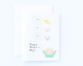 Cute Happy Mother's Day Card - Mother's Day Card, I Love You Mom, Card for Mom