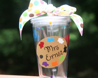 Personalized Art teacher gift - Insulated tumbler with paint palette, paint splats, and teacher name