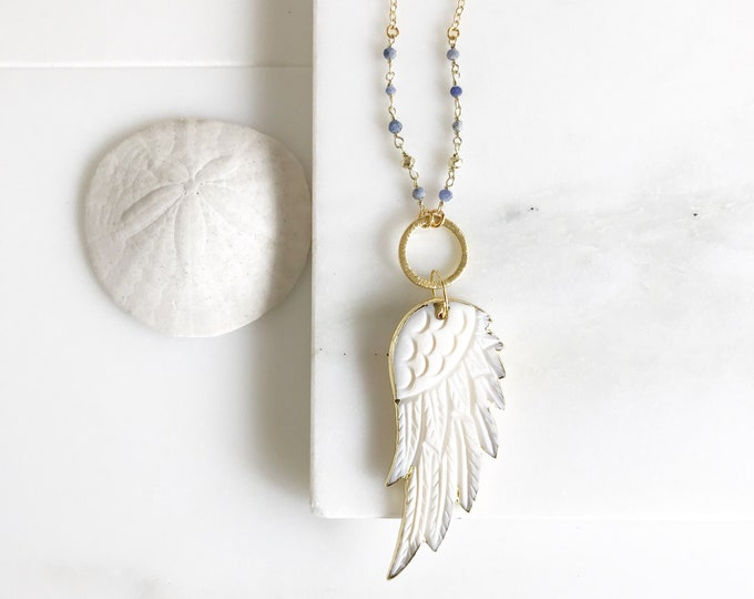 Wing Necklace. Long Boho Wing Necklace in Gold. White Wing Necklace with Blue Stones. Pendant Necklace in Blue and Gold. Boho Chic.