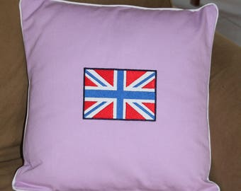 Old pink cushion with flag English union jack - House COLLECTION