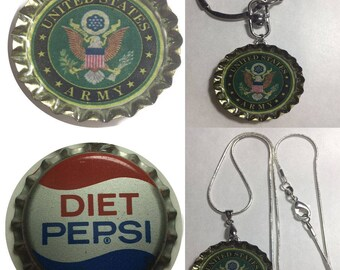 Old Diet Pepsi Soda bottle cap US United State Army Keychain, Pendant, Necklace