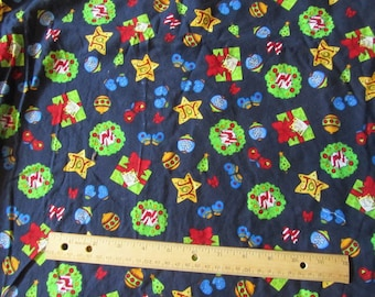 Navy Blue Christmas Toss Cotton Fabric by the Yard