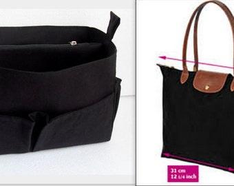 Purse organizer Fits large Longchamp Le Pliage- Bag organizer insert in Black