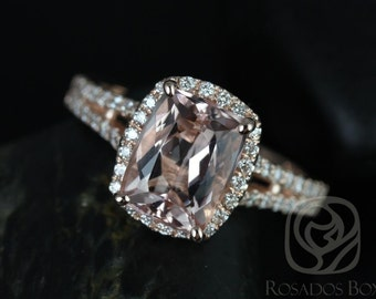 Rosados Box Rosy 9x7mm 14kt Rose Gold Rectangle Cushion Morganite and Diamonds Halo Split Band Engagement Ring