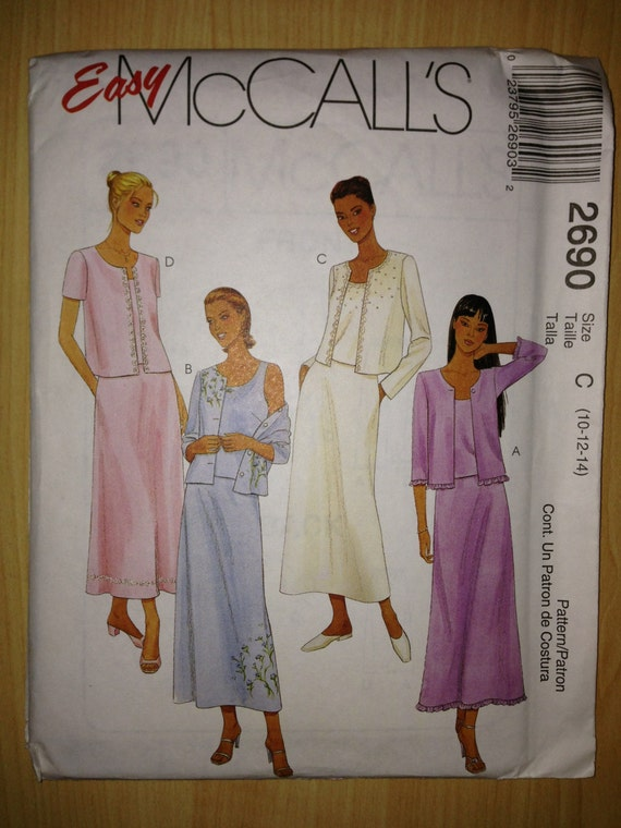 McCalls Sewing Pattern 2690 Misses and Miss Petite Twin Set and Pull On Skirt Size 10-14