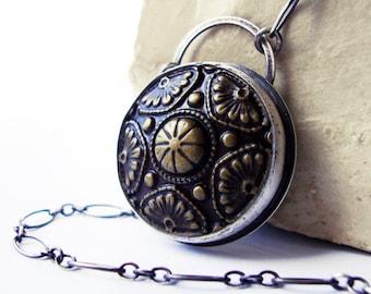 Antique Brass Button Cabochon Necklace, Brass Button Cabochon Sterling Silver Necklace