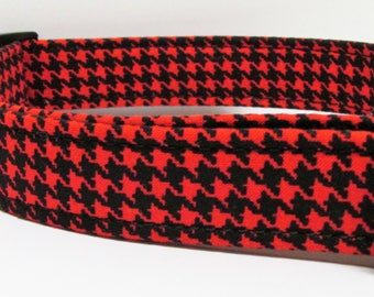 Red and Black houndstooth  Handmade Dog Collar