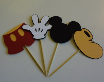 Mickey Mouse Cupcake Toppers, Mickey Mouse Party Decorations, Birthday Supplies, Party Decorations