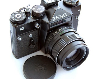 Zenit-11 Russian Vintage camera + Helios 44M-4 58mm F2 Lens in leather case