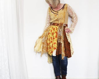 upcycled dress - M - upcycled clothing, tattered dress, wearable art, romantic dress . midnight at the oasis