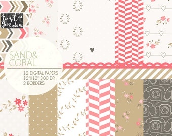 Sand and Coral floral digital paper. Rustic flowers, phones, laurel, herringbone, chevron, hearts patterns in pink, beige, dark grey. PNG
