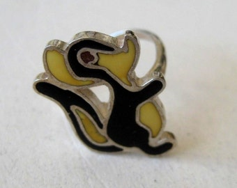 Animal Squirrel vintage Onyx sterling silver 925 ring, size 5