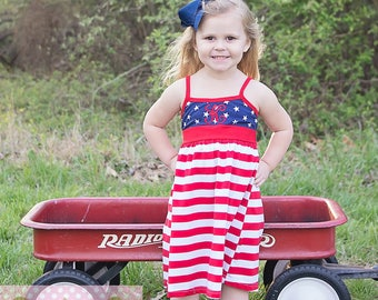 Fourth Of July Monogrammed Patriotic Girls Embroidered Dress Red White And Blue Stars And Stripes Bow Custom Name