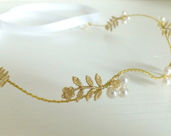 Headband crowns vintage marriage - Bridgette - golden Sheets(Leaves) - Crystal pearls Swarovski - transparent golden Spinning tops