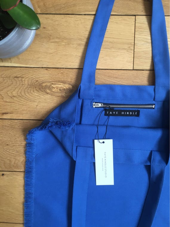 Blue frayed edge Cotton twill Tote bag
