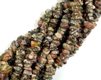 Leopard Skin Jasper, 4-9mm Chips Beads, 34 Inch, Long full strand, Hole 0.8 mm (306005001)