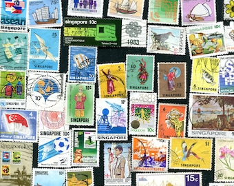 Singapore Postage Stamps / 50 Used Postage Stamps From Singapore