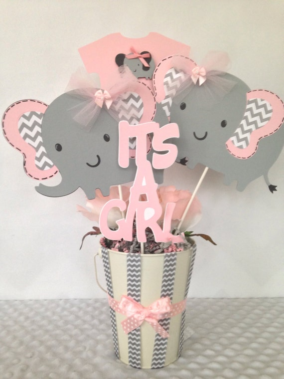 Pink And Gray Elephant Baby Shower Centerpiece Pink and Gray