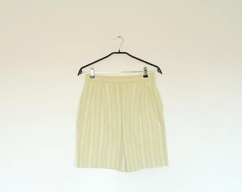Vintage Lime Green and Orange Striped High Waist Pleated Pin Up Shorts