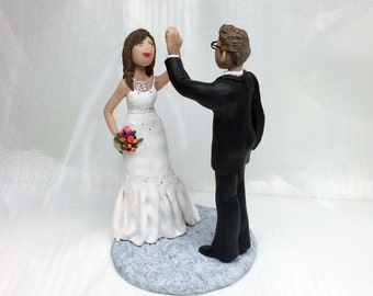 Custom Wedding Cake Topper High Five Wedding Couple from your ideas and photos