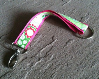 Fabric Key Chain - Pink and Green Paisley with Swivel Clasp