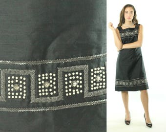 Vintage 70's Beaded Silk Dress Sleeveless Sheath Black 1970s Party Dress Sheath Large L Fashion Tellers