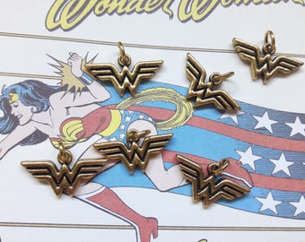 Gold Wonder Woman Logo Charm Pendant Jewelry Making & DIY Jewelry Supplies