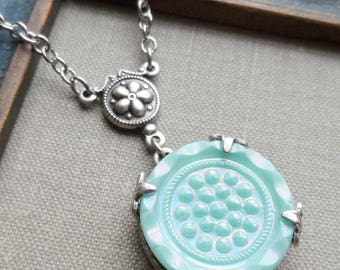 Bubbles, Necklace made with Vintage Green Glass Button