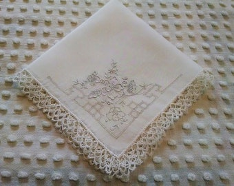 Beautiful Vintage Hankie Handkerchief White on White Embroidered Flowers Fancy Tatted Edge Mother of the Bride or Groom Bridal Wedding Hanky