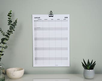 Personalized family Calendar Wall Calendar for 5 people, minimalist design