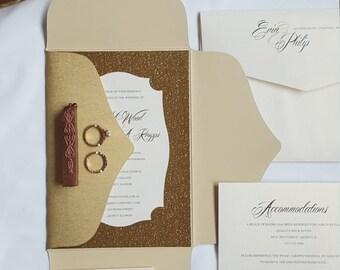Glam Wedding Invitation, Unique Gold Glitter Wedding Invitations, Blush and Gold Wedding Invitations, Custom Elegant Invites | Erin & Philip