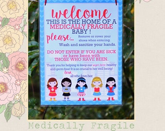 Medically Fragile Baby Child Door Sign Special Needs Superheroes Sign | Version 2
