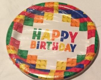 Brick ''Building Blocks'' Lunch Paper Plates 18ct